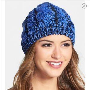 Zella Knit Hat in Blue & Black - One Size